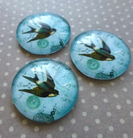 Glass Blue Cabochons Swallow Pack of 4
