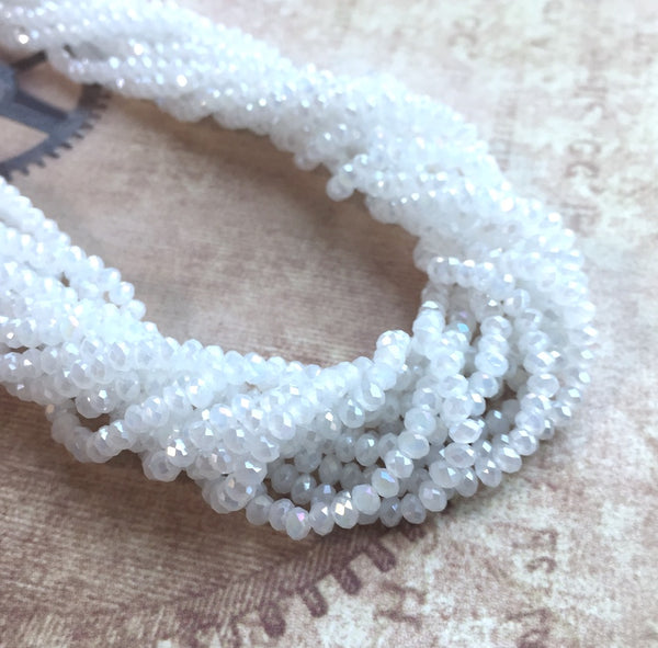White Faceted Mini Rondelle Beads 150 Beads