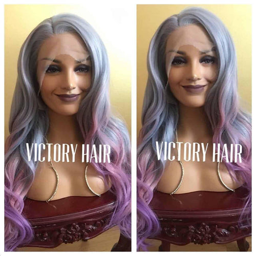 wavy purple multi color lace front wig .Human Hair Blend - Blesswigs