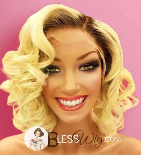 European beauty curly blonde with dark root. 100% Human Hair. lace front wig - Blesswigs