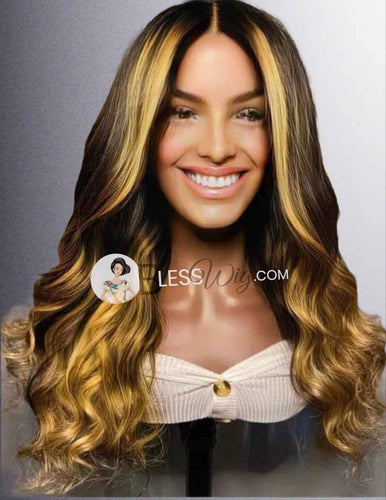 BlessWig curly black and blonde highlight lace front wig. 100% real Human Hair - Blesswigs