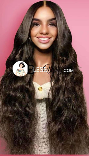 wavy natural black. 100% human hair.  lace front wig - Blesswigs