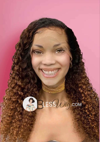 curly brown with dark root lace front wig. 100%  Real Human Hair Wig - Blesswigs