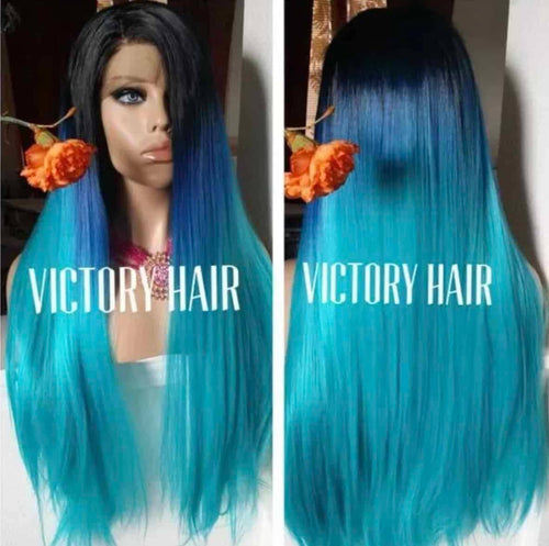 Aqua blue ombre black root. Lace front wig. Human hair blend - Blesswigs