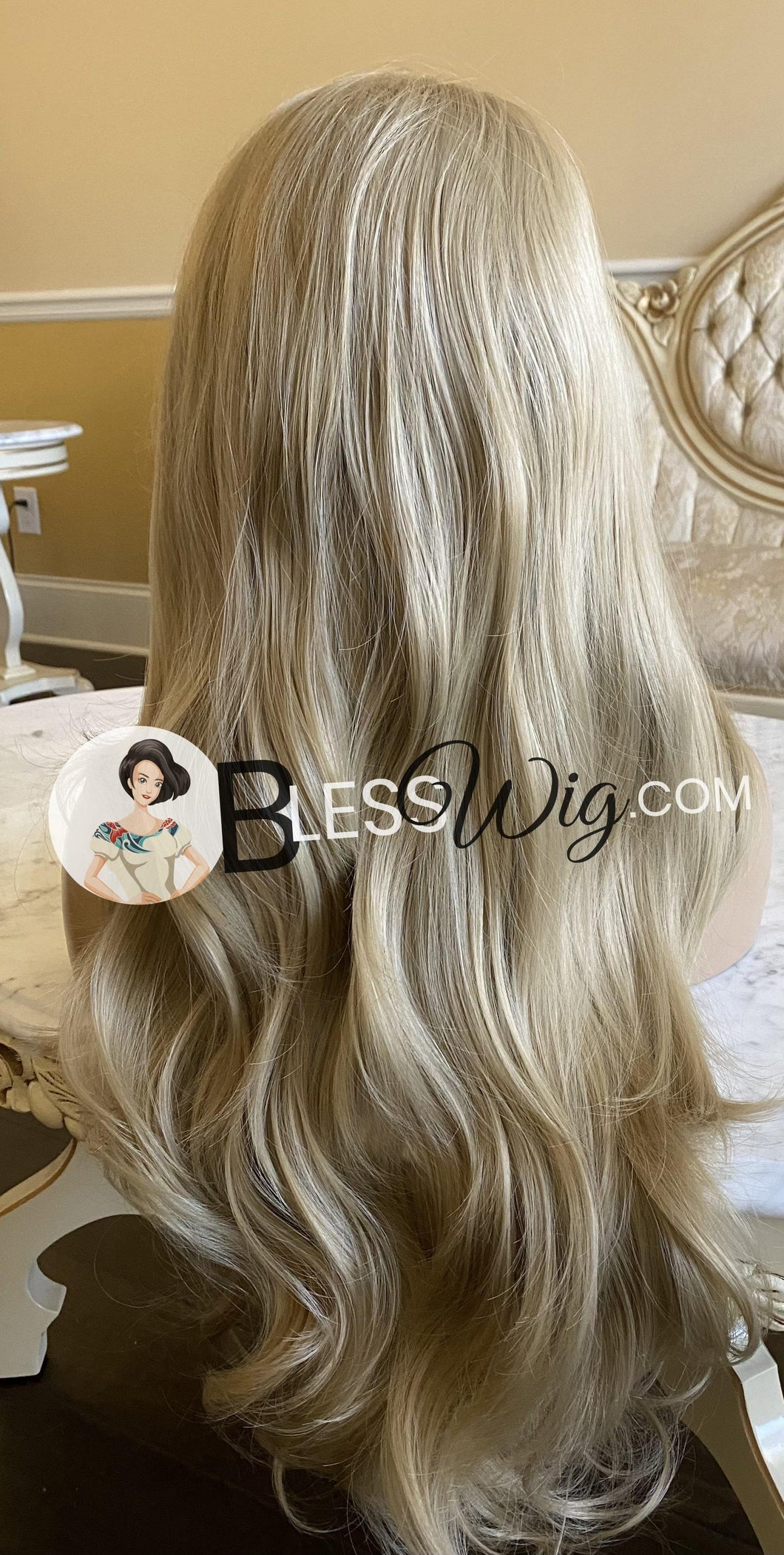 Blesswigs - Wavy ash Blonde Lace Front wig. European Human hair blend /Best Alopecia and cancer wigs