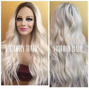 BlessWigs 100% Real Human hair icy white European Luxury wig/  platinum blonde with dark  root. Lace Front wig.