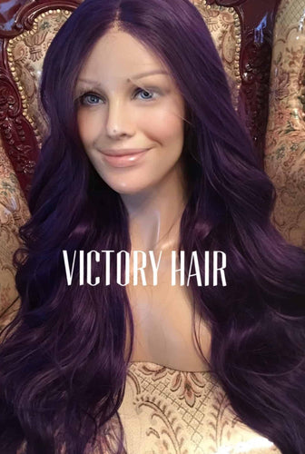 Purple wavy lace front wig .Human Hair Blend - Blesswigs