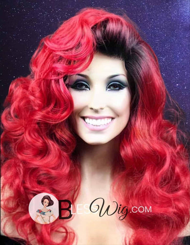 curly red lace front wig .Human Hair Blend - Blesswigs
