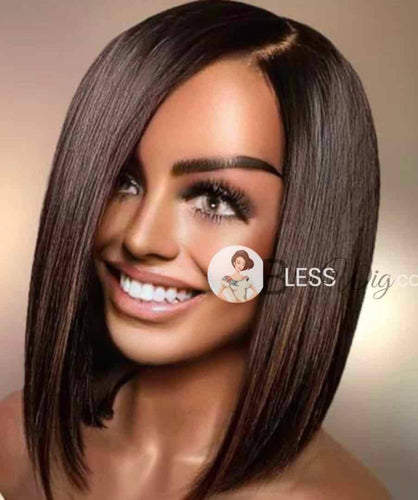 BlessWig perfect bob dark brown highlights lace front wig. 100% Human Hair - Blesswigs