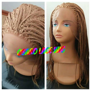 BlessWigs Hand braided micro box. Honey Blonde. lace front wig.