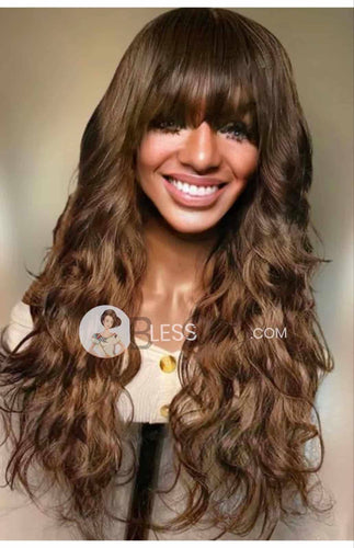 BlessWig full wavy brown with bangs. 100% human hair lace front wig - Blesswigs
