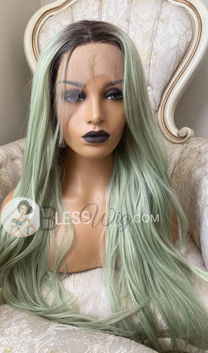 curly pastel green with dark root lace front wig .Human Hair Blend - Blesswigs