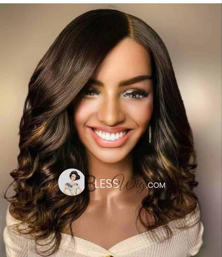 BlessWig curly natural black highlights lace front wig. 100% Human Hair - Blesswigs
