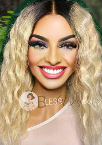 BlessWig wavy blonde 100% human hair lace front wig - Blesswigs