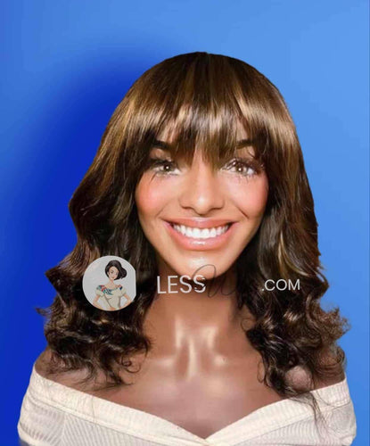 BlessWig short curly dark brown with bangs. 100% human hair  lace front wig - Blesswigs