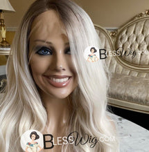 Load image into Gallery viewer, Blesswigs - BlessWigs wavy platinum blonde with brown root. Lace Front wig. Human hair blend /Best Alopecia and cancer wigs