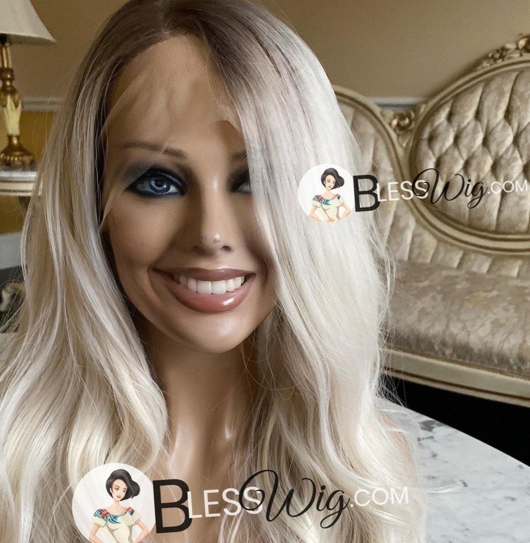 Blesswigs - BlessWigs wavy platinum blonde with brown root. Lace Front wig. Human hair blend /Best Alopecia and cancer wigs