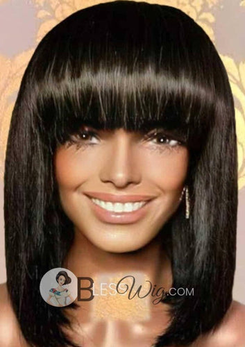 BlessWig bob black with straight across bangs lace front wig. 100% Human Hair Wig - Blesswigs