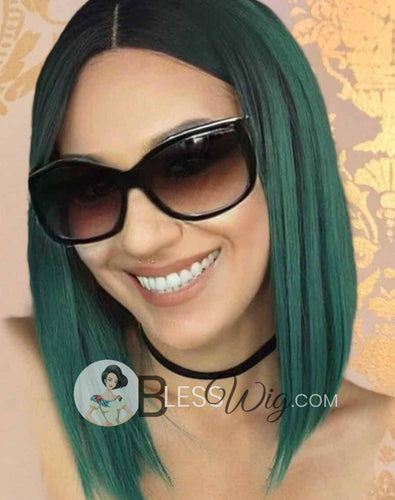 bob dark green with dark root lace front wig .Human Hair Blend - Blesswigs