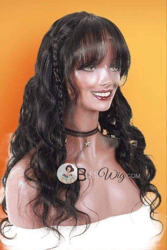 curly black with full bangs lace front wig. 100% real human hair - Blesswigs