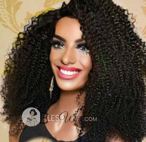 BlessWig Extra thick curly black afro lace front wig. 100% Human Hair wig - Blesswigs