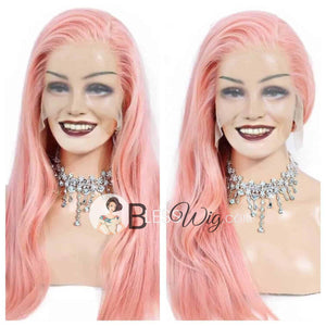 BlessWigs/ 100% Real Human hair. short curly or straight  pink lace front wig