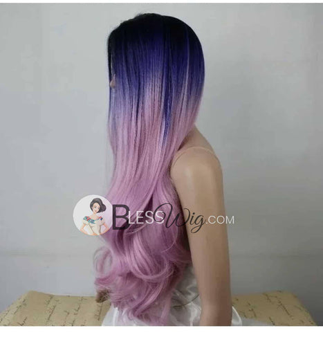 Purple Pink ombre  Hair. Curly Lace Front Wig. .Human Hair Blend - Blesswigs