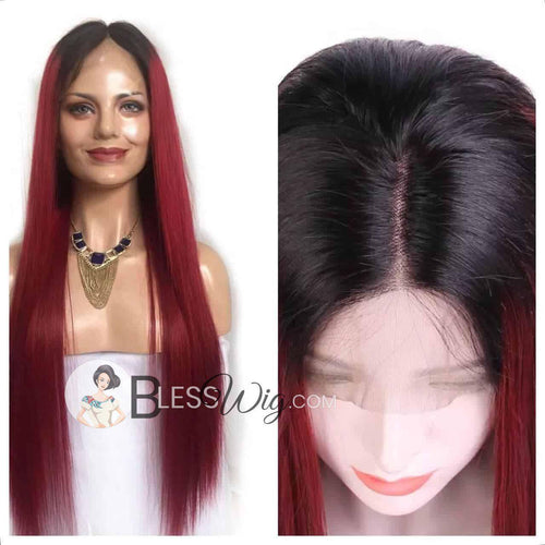 Red ombré human hair blend lace front wig - Blesswigs