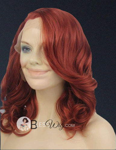 curly short dark copper auburn red lace front wig .Human Hair Blend - Blesswigs