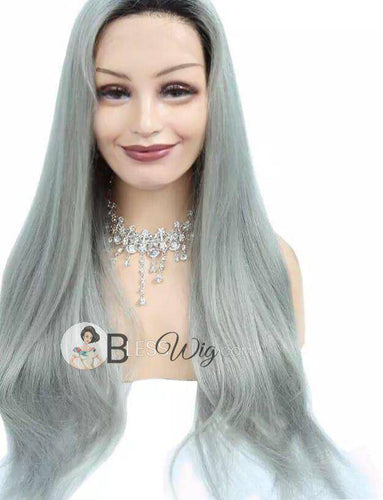 silver gray grey human hair blend. lace front wig. - Blesswigs
