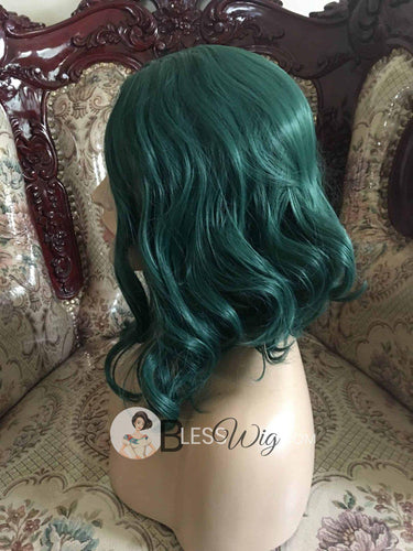 wavy dark green short lace front wig .Human Hair Blend - Blesswigs