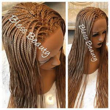 Load image into Gallery viewer, Hand braided micro box. Honey Blonde. lace front wig. Human hair blend - Blesswigs