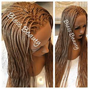 Hand braided micro box. Honey Blonde. lace front wig. Human hair blend - Blesswigs