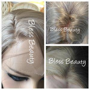 2 tone Beautiful ombre light blonde straight lace Front wig. Full Human hair blend - Blesswigs