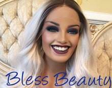 Load image into Gallery viewer, BlessWigs 100% Real Human hair icy white European Luxury wig/  platinum blonde with dark  root. Lace Front wig.
