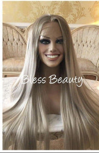 Blesswigs - BlessWigs 2 tone Beautiful ombre light blonde straight lace Front wig. Full Human hair blend /Best Alopecia and cancer wigs
