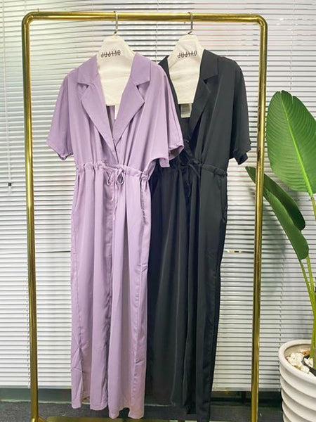 Purple Plunge Wide Leg Jumpsuit