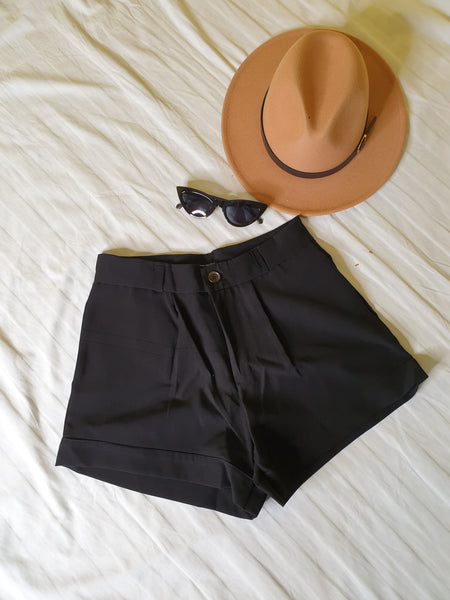Black Button Front High Waist Shorts