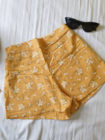 Yellow Floral Co-Ord Shorts