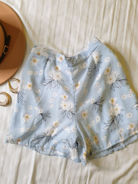 Blue Co-Ord Floral Shorts