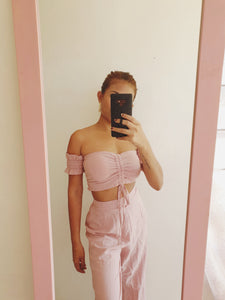 Baby Pink High Waisted Wide Leg Trouser