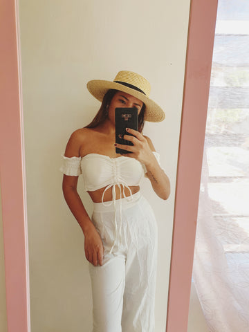 Cream High Waisted Wide Leg Trouser