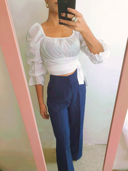 Navy Wide Leg Trouser