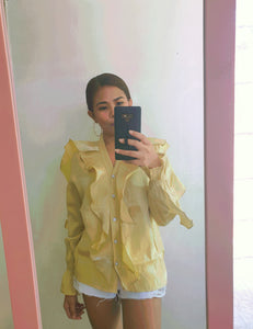 Yellow Satin Frill Detail Long Sleeve Top