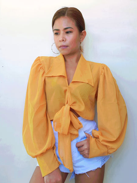 Yellow Bardot Tie Front Crop Top