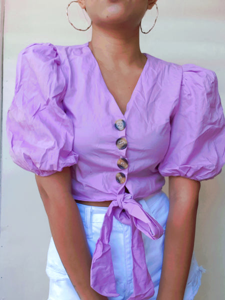 Purple Puff Sleeve Button Detail Blouse