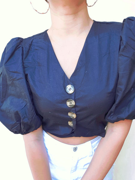 Black Short Puff Sleeve Button Detail Blouse