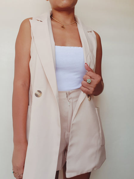 Beige Sleeveless Blazer