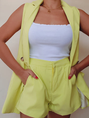 Neon Green Suit Shorts