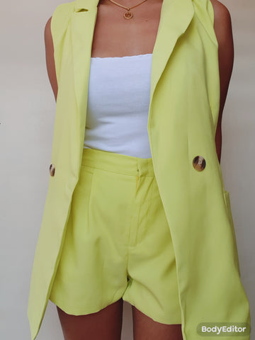 Neon Green Sleeveless Blazer